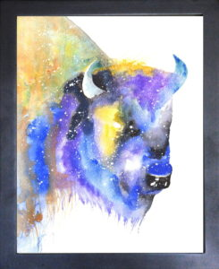 bison watercolor painting
